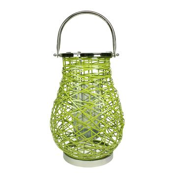 "18.5"" Modern Green Decorative Woven Iron Pillar Candle Lantern with Glass Hurricane"
