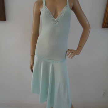 Vanity Fair Nightie Vintage 1960s Textured Honeycomb Uneven Hem Nightgown Lingerie Ocean Green Blue Size S