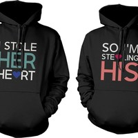 Cute Matching Couple Hoodies - Stealing Hearts Romantic Couple Sweatshirts