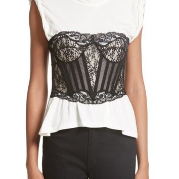 Alexander Wang Cotton Top with Lace Bustier | Nordstrom