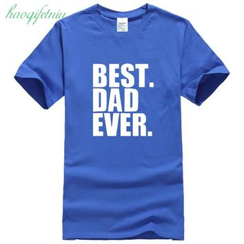 WEELSGAO New Fathers Day Gift Best Dad Ever Printed Men's T-Shirt T Shirt For Men Short Sleeve O Neck Cotton Casual Top Tee