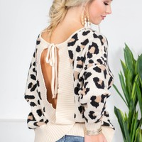 Fuzzy Leopard Open Sweater