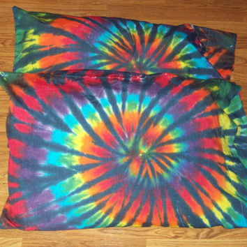 Tie Dye Pillow Cases- Set of 2-  tie dye pillows, tie dye bedding, Rainbow Tiger