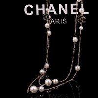 8DESS Chanel Women Fashion Pearl Necklace Jewelry