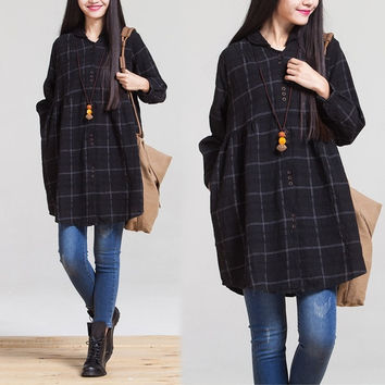 Plaid Black long Maternity Blouses Plus Size Cotton Linen Clothes For Pregnant Women 2015 New Spring Pregnancy Clothing = 1946044612