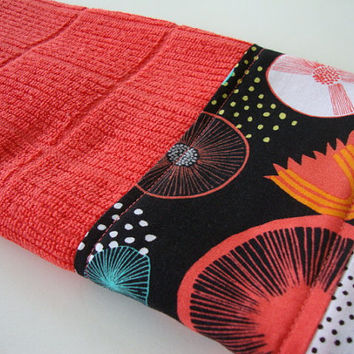Decorative Kitchen Towel - Fabric Trimmed Hand Towel - Tea Towel - Bath Hand Towel - Embellished Towel - Coral Dish Towel