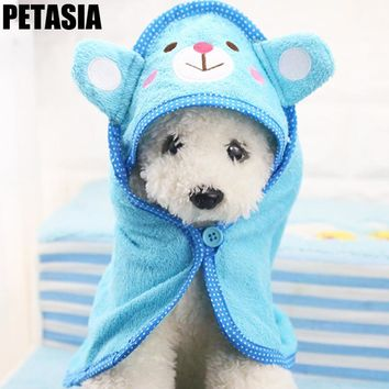 Pet Dog Bath Towel Pet Drying Cleaning Puppy Blanket High Quality  Cute Pet Supplier Pink Blue Green Yellow Cartoon