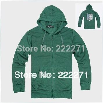 Cool Attack on Titan  Track Anime no   Eren Jaeger cosplay costume green Survey corps hoody sleeve hoodies AT_90_11