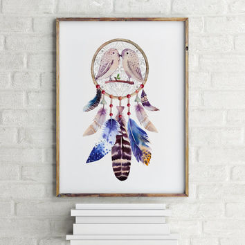 Quote with Native American Indian Dreamcatcher with bird feathers Dream Catcher Print One dream is worth a thousand realities