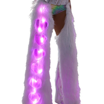 Pink and White Light Up Window Hear Fur Rave Chaps