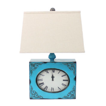 Vintage Blue Table Lamp with Metal Clock Base