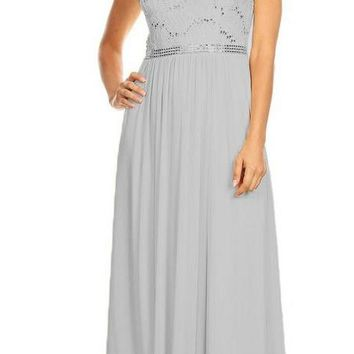 A-line Long Formal Dress Sleeveless with Sequins Silver