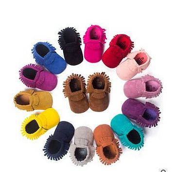 Hot PU Suede Leather Newborn Baby Moccasins Shoes Bebe Fringe Soft Soled Non-slip