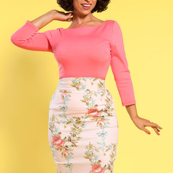 Laura Byrnes California High Waisted Pencil Skirt in Pink Floral Ribbon
