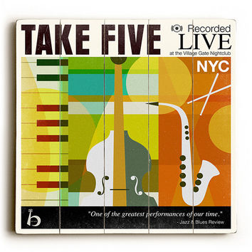 Take Five by Artist Cory Steffen Wood Sign