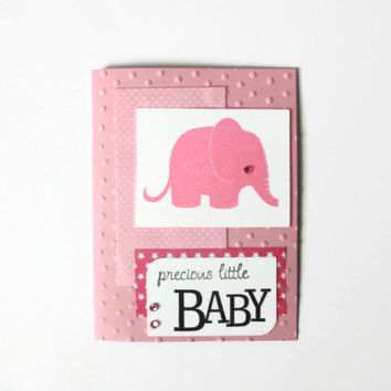 Baby Girl Card Baby Card Pink Elephant