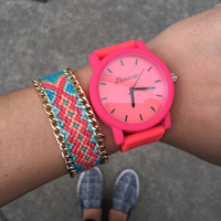 Neon Coral Silicone Watch & Friendship Bracelet Set