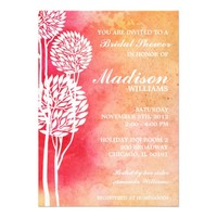 Pink Peach Ombre Trees Bridal Shower Invite