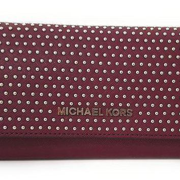 PEAPIX5 Michael Kors Jet Set MIcro Stud Saffiano Leather Convertible Chain Wallet