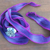 Ribbon Wrap Bracelet with Silver Lotus Flower Charm Purple, Choker, Headband, Hair Tie, Yoga Bracelet