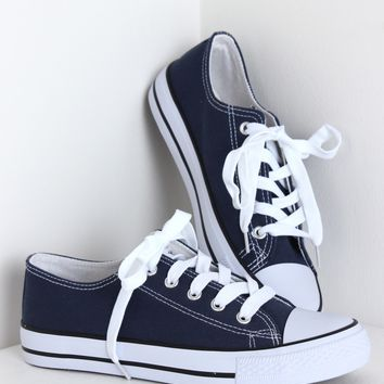Lace Up Sneakers Navy