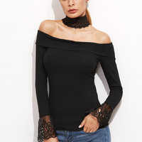 Black Choker Neck Embroidered Mesh Cuff T-Shirt | MakeMeChic.COM