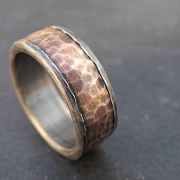 forged silver bronze ring, cool mens ring, mens wedding band, personalized mens ring, bronze wedding ring, unique wedding ring steampunk