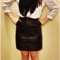 Black Faux Leather Mini Skirt with Pockets XS