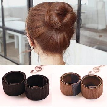 Sweet French Dish Made Synthetic Wig Donuts Bud Hair Band Ball French Twist chignon cheveux Bun Maker headband Hair Accessories