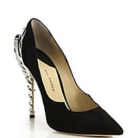 Paul Andrew - Chrysler Suede Wave-Heel Pumps - Saks Fifth Avenue Mobile