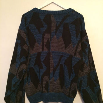 Vintage 80's ROBERT BRUCE Cardigan Black Blue Gray Size XL