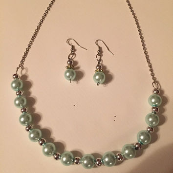 Mint green pearl and silver necklace earring set, jewelry set