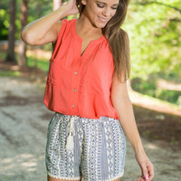 Simple Is The Best Button Down Top, Coral