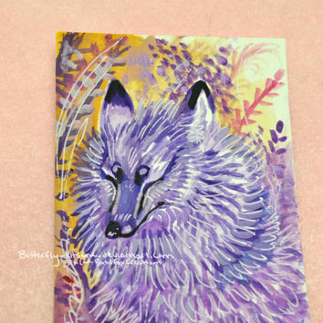 SALE Gouache Fox Kitsune Painting ACEO Original One Of  Kind Signed