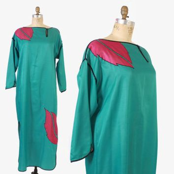 Vintage 80s Bill Tice CAFTAN / 1980s Tropical Leaf Loose Fit Maxi Lounge Dress