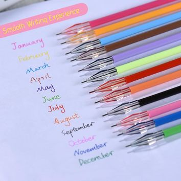 12pcs Gel Pen Candy Color Needle Gel Pens Refills Cores Set Diamond Head Cute Writing Stationary School Supplies Gifts for Kids