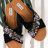 Rhythm Of Love Not Rated Embroidered Sandals (Black)
