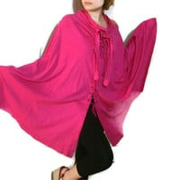 Versatile Pink Summer dress, women beach wrap sundress,boho cape,long skirt,autumn poncho