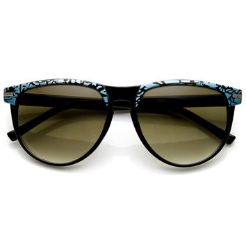Retro Two Tone Pattern Large Horned RimSunglasses  9171