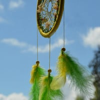 Yellow Dreamcatcher with turquoise and amazonite gemstone, plastic beads and 3D butterfly, wall hanging, wall decor