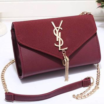 YSL Yves Saint Laurent Women Shopping Leather Metal Chain Crossbody Satchel Shoulder Bag