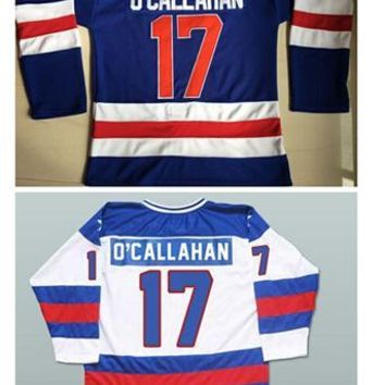 Top quality #17 O'CALLAHAM 1980 Miracle On Ice Jersey USA Olympic Ice Hockey White Navy blue Stitched Jerseys