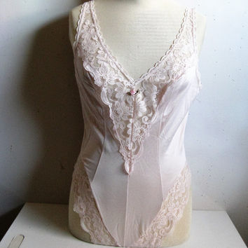 Vintage 1980s Lace Teddy Kasara Blush Pink Lace Lingerie 36