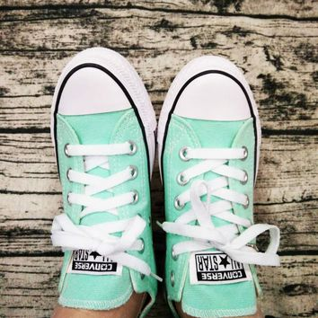 """Converse"" Trending Fashion Casual Running Canvas Flats Sneakers Sport Shoes Light green G"