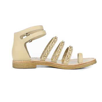 Chanel Tan Leather Flat Sandal Gold Chain Straps US 8.5