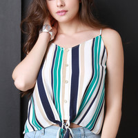 Sleeveless Self-Tie Front Striped Top