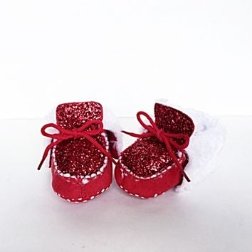 Red Glitter Baby Booties, Toddler Boots