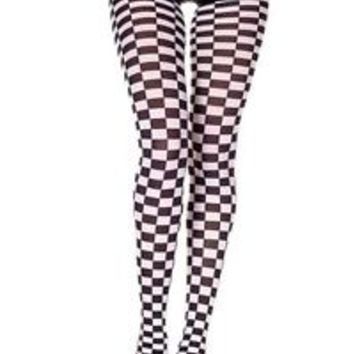 ML-7006 Sexy Black White Checkered Women's Adult Halloween Costume Pantyhose