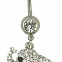 Adorable Silver Crystal Studded Elephant Belly Button Ring Dangle Chain Barbell Navel Piercing