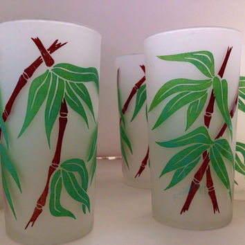 Vintage Frosted Tumblers-Mid Century-Bamboo Design-Vintage Barware-Kitchen-Set of 6-Drink and Barware-Cocktail Glass